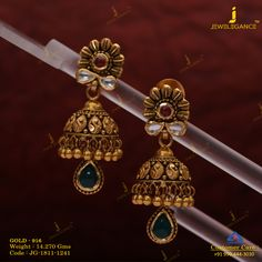 Get In Touch With us on Gold Jhumka Earrings, Gold Earrings Designs, Antique Earrings, Necklace Designs, Jhumka Designs, Kids Gold Jewellery, Gold Jewelry For Sale, India Jewelry, Jordan