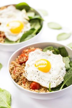 This savory breakfast quinoa takes 5 minutes to make and is the perfect way to start your day. Packed with protein and veggies, it's healthy and delish!