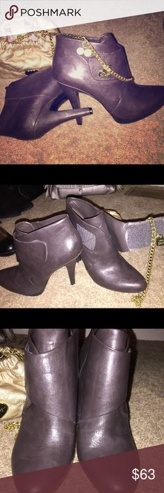 """Beautiful Nine West Brown Leather Booties💋 I don't have enough words to be able to tell you how fabulous these are!  5"""" heels. Adjustable large strap across the front top. All leather uppers and heels. Only work to model inside. Zero defects I can see💋Please ask any questions before purchasing💋Trade value is $70 Nine West Shoes Heeled Boots"""