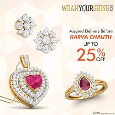 """""""Karva Chauth Special: Avail Up to 25% off on Diamond Jewellery with WearYourShine.  #WearYourShine #Love #PCJeweller #Like #Follow #Happiness #Gemstones #Diamonds #Jewelry #Jewellery #India #IndianJewellery #Fashion #Women #Precious #New #Me #Festivals #Festive #Season #Me"""""""