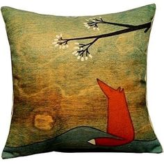 HOSL Blending Linen Square Throw Pillow Case Decorative Cushion Cover Pillowcase for Sofa Blue Rusty Anchor with Coral 18 X18