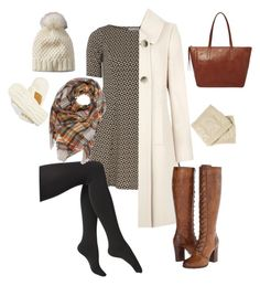 """""""Winter Dress"""" by lularoekarinmalia. Fit and flare dress with tights, tall boots, boot cuffs keeps you covered up and cute this winter! Bundle with a scarf, mittens, beanie, and a winter white pea coat. Don't be afraid to mix blacks and browns or prints to keep yourself fab vs drab. Get the LuLaRoe look with an [AMELIA] or [NICOLE]! on Polyvore featuring Dorothy Perkins, Precis Petite, Via Spiga, Express, Frye, Isotoner and FOSSIL"""