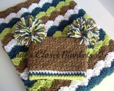 Baby Boy Gift Set, Crochet Baby Crib Blanket and Pom Pom Hat Gift Set, Chocolate Brown, White, Cape Cod Blue, and Soft Fern Green