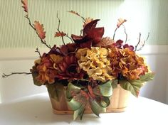 Beautiful Fall Hydrangea Centerpiece arranged in a Vintage Mushroom Basket designed and handmade by VintageStableDesigns.    Perfect for