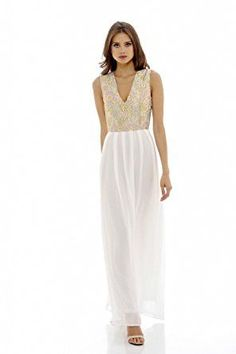 Gold Cream Sleeveless Floral Lace V-Neck Pleated Maxi Dress