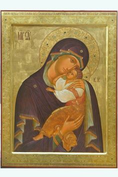 """Most Holy Theotokos """"Eleusa"""". Archangel Michael in Voronezh (Russia). Byzantine Icons, Orthodox Christianity, Archangel Michael, Madonna And Child, Orthodox Icons, Blessed Mother, Sacred Art, Religious Art, Virgin Mary"""