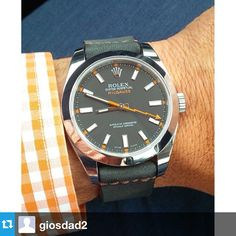 This Halloween combo by @giosdad2 featuring a Coal Horween NYC NATO on a Rolex Milgauss is pretty awesome #womw #wornandwound #repost #Padgram