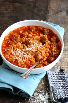 Bring everyone to the table with this quick and easy risotto dish. Starring our beloved Pomodoro Fresco Marinara irresistible mini meatballs and Northern Italys famed arborio rice this is one cold-weather recipe sure to step up your dinner game. Risotto Dishes, Risotto Recipes, Pasta Recipes, Dinner Recipes, Cooking Recipes, Beef Recipes, Yummy Recipes, Dinner Ideas, Mini Meatballs