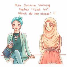 @thefilaa1  Bismillahirrahmanirrahim.  Apa opinimu tentang kedua hijabi ini?  Mana yg lebih kau pilih?  Comment & berikan alasanmu!   Ini terjadi dalam kehidupanku setiap hari.. Setiap kali pergi  selalu aku duduk bersebelahan dengan hijabi ygBiru ini.  Aku hanya bisa duduk diam & melihatnya  entah dia datang tiba2 ke sebelahku & melihatku lalu cepat2 merias dirinya.. Apakah hijabku yg sederhana ini membuatmu lebih ingin mempercantik diri?  agar lebih ditatap manusia lain?  Apakah berbusana…