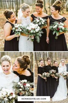 Here's some real wedding inspiration for your black wedding color scheme!  Check out our favorite black bridesmaid dresses at Kennedyblue.com Neutral Bridesmaid Dresses, Affordable Bridesmaid Dresses, Designer Bridesmaid Dresses, Bridesmaids, Wedding Dresses, Wedding Color Schemes, Wedding Colors, Party Looks, Party Fashion