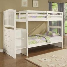 Angelica White Arch Spindle Chest End Twin/Twin Bunk Bed