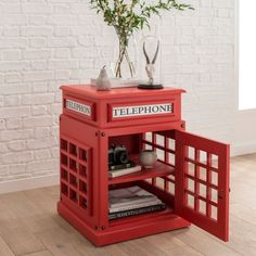 This Telephone Box Side Table in red is a new addition to our range of modern & contemporary furniture a unique side table unlike any other House Furniture Design, Unique Furniture, Home Decor Furniture, House Design, London Decor, Room London, London Telephone Booth, British Decor, Home Interior