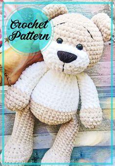 Crochet Teddy Bear Pattern Free, Teddy Bear Patterns Free, Knitted Teddy Bear, Crochet Amigurumi Free Patterns, Crochet Animal Patterns, Free Crochet, Sock Toys, Amigurumi Toys, Handmade Toys