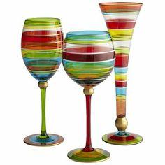 Festive Stripes Stemware
