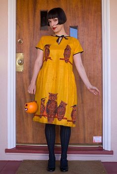 Cute Owl Dress. I am addicted to mustard yellow. I have 4 pairs of shoes in this shade. It is one of those colors that no matter what it is I will buy it. BUT this is a super cute dress too. So bonus