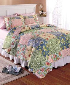 Refresh the look of your bedroom with a 3-Pc. Printed Quilt Set. Each coordinating piece has a bold patchwork pattern that works all year…