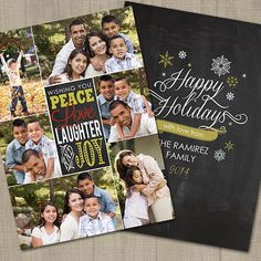 Christmas Photo Card, Chalkboard, Collage, Multi Photo, 2-Sided, PRINTABLE, DIGITAL, Holiday Photo Card, Photo Card Template by partymonkey. Explore more products on http://partymonkey.etsy.com