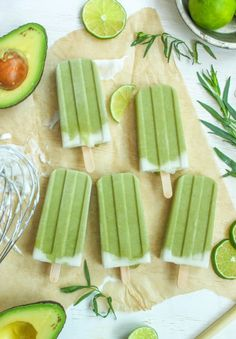 Tropical Avocado Popsicles from Cooking Stoned. A deliciously creamy frozen treat with all the nutritional goodness of avocado, lime and coconut milk. The perfect way to cool down on a hot summer's day.