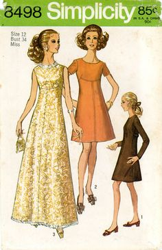 Vintage Sewing Pattern - 1969 Misses Dress in Two Lengths, Simplicity 8498 Size 12 Bust 34