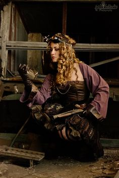 """Discoveries"" by coleria.deviantart.com - purple and brown steam punk dress costume"