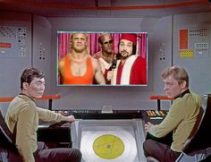 What is the Enterprise bridge crew watching today? WWF Saterday Night Main Event !!
