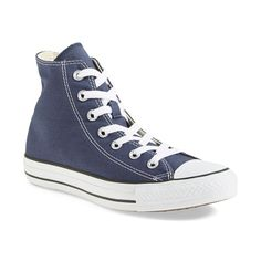 Women's Converse Chuck Taylor All Star Sneaker ($55) ❤ liked on Polyvore featuring shoes, sneakers, navy, navy blue shoes, navy sneakers, star shoes, converse footwear and high top sneakers
