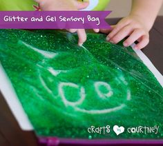 What a great craft to learn and have fun! Easily make this glitter sensory bag out of food coloring and hair gel. My kids love this craft!