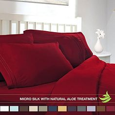 Luxury Bed Sheet Set - Soft MICRO SILK Sheets - Queen Size, Burgundy Red - with Pure Natural ALOE VERA Skin Soothing Moisturizing Treatment - Healthy Calming Properties Will Make You Have A Relaxed and Refreshed Sleep - Highest Quality with Strong Stitching Will Make Your Sheet Set Last For Many Years - Get the Luxurious Look and Silky Feel No Other Sheet Set can Offer - Clara Clark