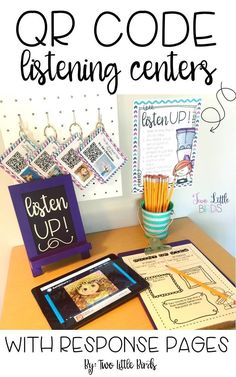 40 QR Code listening centers for elementary students engage students in favorite stories read aloud on your classroom devices.  20 response pages included!