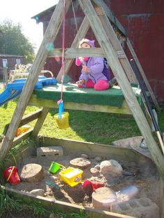 A pulley above the sandbox. A-frame fort