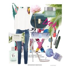 """Summer day!"" by kaoriihayashi on Polyvore featuring Giorgio Armani, Balmain, Giuseppe Zanotti, Current/Elliott, MANGO, Chloé, NYX, Clinique, Kiehl's and Forever 21"