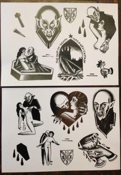 Nosferatu flash Gangsta Tattoos, Badass Tattoos, Anime Tattoos, Halloween Tattoo Flash, Dracula Tattoo, Tattoo Mafia, Satanic Tattoos, Pumpkin Tattoo, Traditional Tattoo Flowers