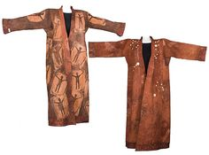 Caryl Gaubatz | The Dancing Coat 1999 | Kona cotton; printed, over-dyed, discharged, stamped; quilted, embellished; reversible. Inspired by a Koryak Dancing Coat . The original garment was thought to have belonged to a shaman; it was decorated with bone ornaments which may have represented a star map.  http://www.mnh.si.edu/arctic/features/croads/koryak.html The constellations represented on Caryl's coat were visible in the night sky above her house.