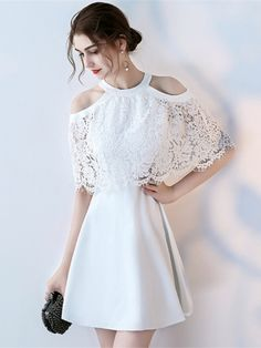A-Line Jewel Lace Half Sleeves Short Homecoming Dress - Hochzeitskleid Prom Dresses For Teens, Grad Dresses, Homecoming Dresses, Evening Dresses, Formal Dresses, Simple Dresses, Pretty Dresses, Beautiful Dresses, Cute Short Dresses