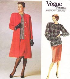 80s Bill Blass Womens A Line Coat Skirt & Top Vogue by CloesCloset