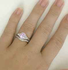 Light Pink Sapphire Engagement Ring and Wedding Band with Hand Engraving
