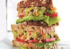 Tuna Avocado Sandwich via Oxygen Womens Fitness. Wonder how it would be with salmon? #Nutrition #Lunch