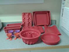 15 piece set of bakewear in Tidyingup's Garage Sale Helena, MT for $15.00. Set of 15 pieces of silicon bakewear. 1 large cake pan. 1 small cake pan. 2 round cake pans. 2 cookie sheets. 2 bread pans. 1 bunt pan. 4 footed cupcake cups. 1 gingerbread boy shaped muffin pan. 1 regular muffin pan.