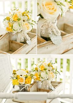 yellow wedding flower bouquet, bridal bouquet, wedding flowers, add pic source on comment and we will update it. www.myfloweraffair.com can create this beautiful wedding flower look. Photo by Mike Larson Photography via JunebugWeddings.com.