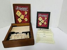 Scrabble Parker Brothers Vintage Game Collection Wood Bookshelf Box complete