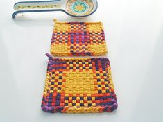 Woven Potholder Set All Cotton Shabby Cottage Chic Kitchen Decor, Handmade Housewares Gift Mediterranean Yellow Red Orange Purple Violet