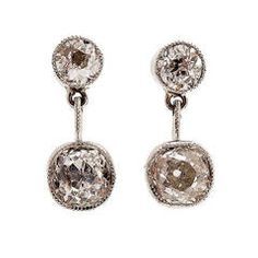 Victorian Old Mine Diamond Platinum Dangle Earrings