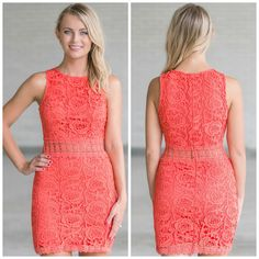 This coral lace dress looks perfect paired with beige sandals or wedges!  http://ss1.us/a/64ro5S3V