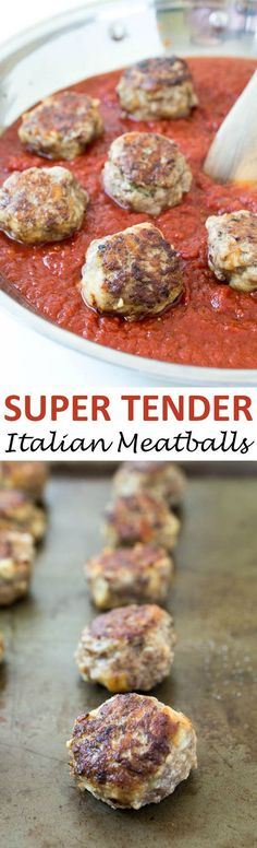 Super Tender Italian Meatballs. Loaded with Parmesan cheese, fresh parsley and garlic. They melt in your mouth and are incredibly tender. Takes less than 30 minutes to make! | chefsavvy.com #recipe #Italian #meatballs #dinner #beef #pork