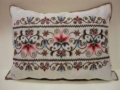 Handmade embroidered kress linen pillow, with crown pattern, 40 x 55 cm, crocheted edge