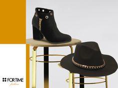 Botín negro con detalles dorados de la colección de invierno de FOR TIME.