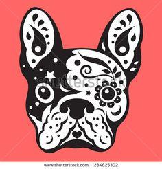 french bulldog sugar skull, frenchie cute dog day of the dead, vector illustration design - stock vector