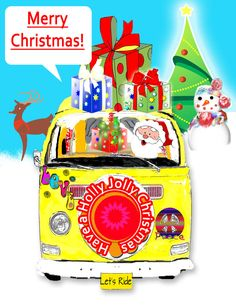 Christmas Volkswagen Bus Santa Christmas Card by SonnyBuds on Etsy, $15.00