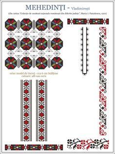 Romanian motifs - Mehedinti 1910 Folk Embroidery, Embroidery Patterns, Knitting Patterns, Wedding Album Design, Crochet Borders, Modern Cross Stitch Patterns, Cross Stitching, Beading Patterns, Needlework