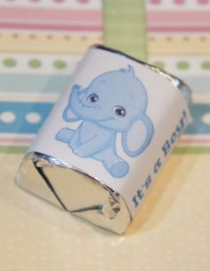 60 Baby Shower It's a Boy Blue Elephant Hershey Candy Nugget Wrappers Stickers  #handmade